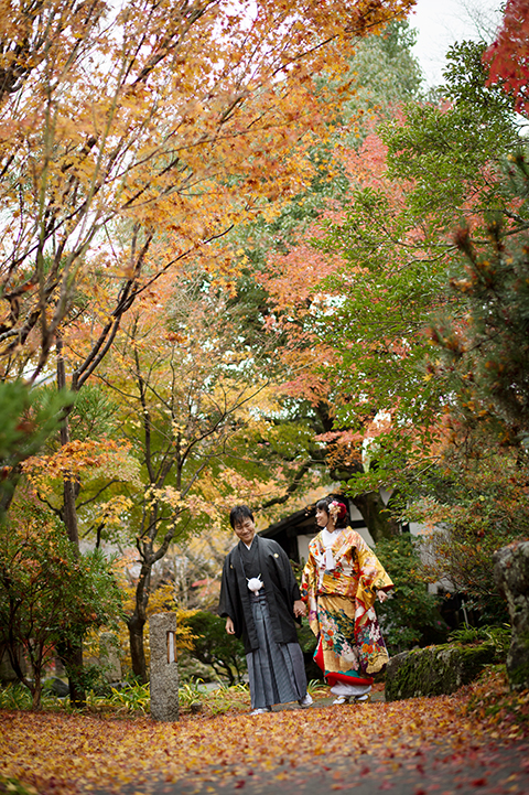 庭園 紅葉 前撮り