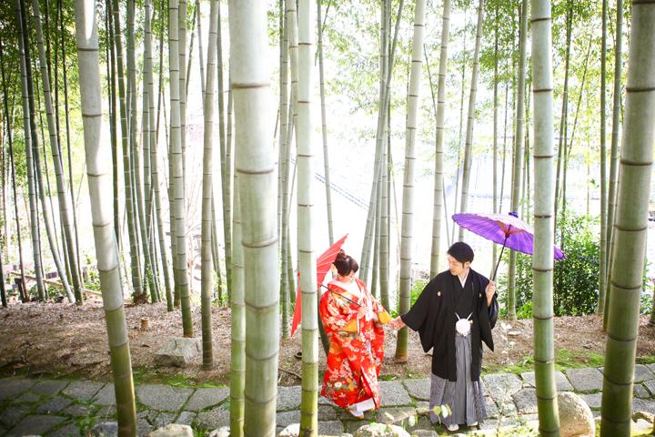 京都の竹林で和装前撮り